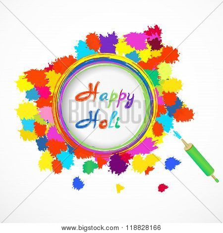Happy Holi  Card With Color Splashes And Pichkari. Vector Illustration.
