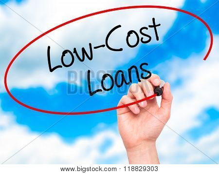 Man Hand Writing Low-cost Loans With Black Marker On Visual Screen