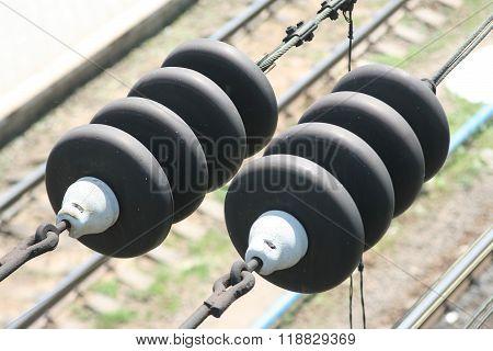Insulators On Railway Wires