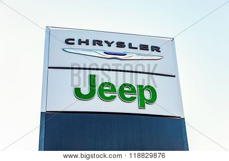 Chrysler, Jeep Automobile Dealership Sign