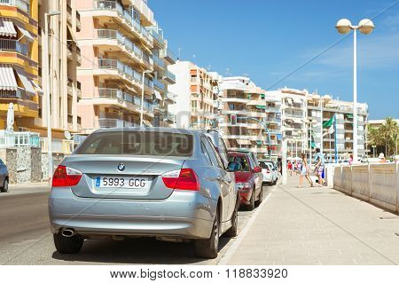 Silver-metallic Modern Car Bmw 3-series On Sunny Street, Torrevieja, Valencia, Spain