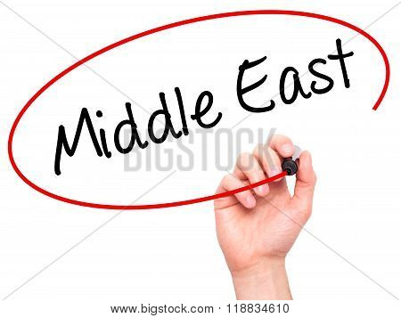 Man Hand Writing Middle East With Black Marker On Visual Screen