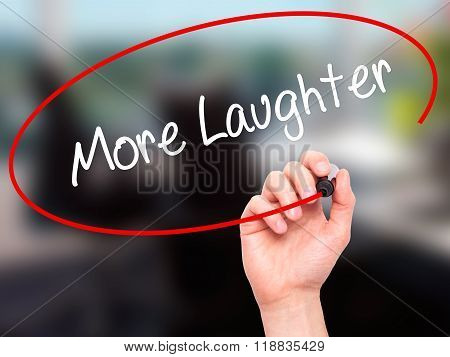 Man Hand Writing More Laughter With Black Marker On Visual Screen