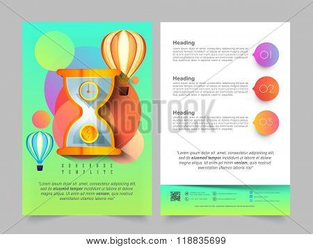 Creative Two Page Brochure, Template or Flyer design with illustration of sand clock and hot air balloons for Business concept.