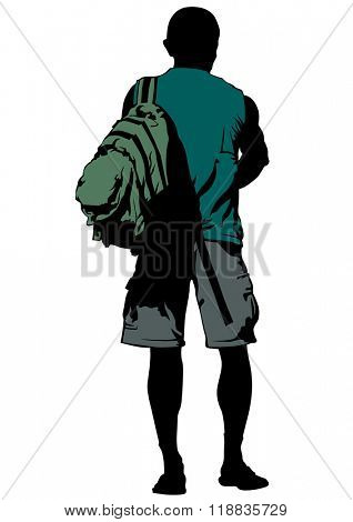 Silhouette of a man with a backpack on a white background