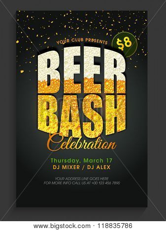Creative text Beer Bash on shiny background, can be used as Pamphlet, Banner or Flyer design for St. Patrick's Day Party celebration.