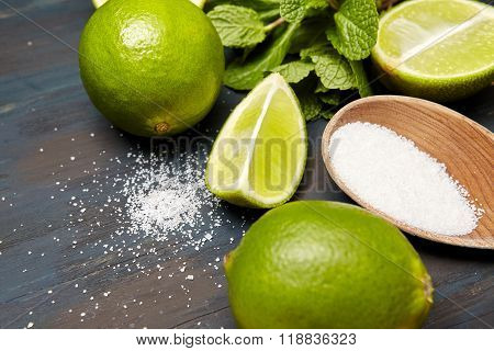 mint leaves , sugar and lime