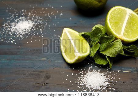 lime on a  wooden background