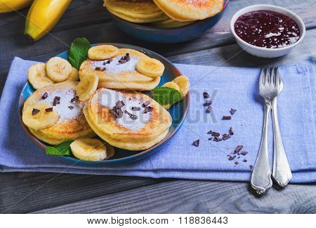 Beautiful Breakfast Frieds Banana Fritter Decorated Additives