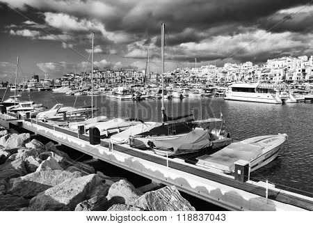 MARINA OF PUERTO BANUS - OCTOBER 2015 - Luxurious yachts in Puerto Banus near Marbella on Costa del Sol, Andalusia, Malaga province, Spain