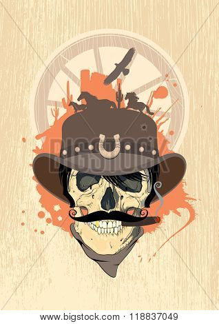 Wild west illustration with cowboy skull, vintage style, rasterized version