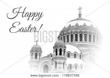 Card For Easter Wirh Domes Of Naval Cathedral Of Saint Nicholas The Wonderworker