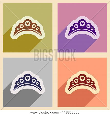 Set of flat web icons with long shadow diadem