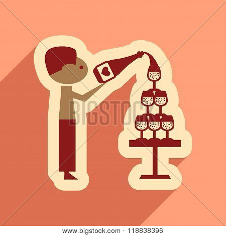 Flat web icon with long shadow Pyramid wine waiter