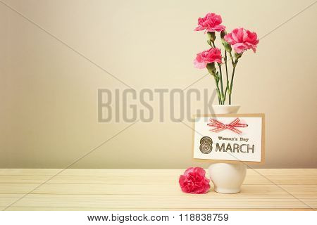 Womans Day March 8Th Card With Carnations
