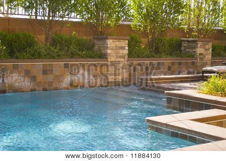 Swimming pool in the backyard