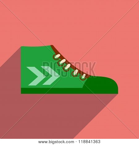 Flat icon with long shadow casual gumshoes
