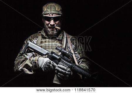 US Army soldier smoking