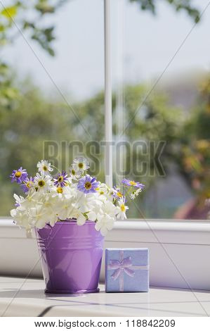 Small Purple Bucket With Daisies And Blue Gift Box Near The Window
