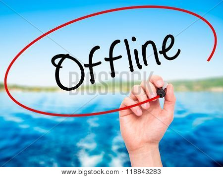 Man Hand Writing Offline  With Black Marker On Visual Screen