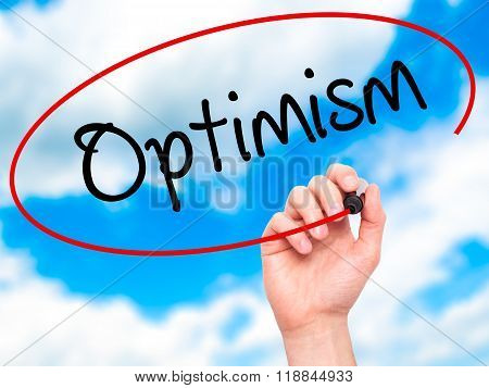 Man Hand Writing Optimism  With Black Marker On Visual Screen