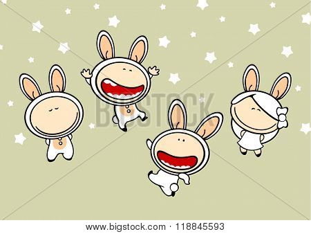 Funny kids #82 - bunny suits (raster version)