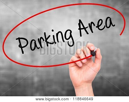 Man Hand Writing Parking Area With Black Marker On Visual Screen