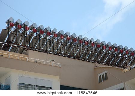 Solar Water Heaters On The Roof