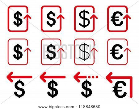 Dollar And Euro Refund Flat Vector Icon Set