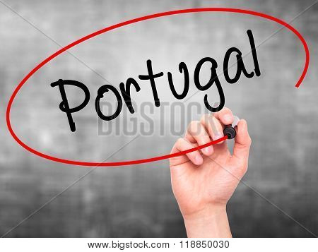 Man Hand Writing  Portugal  With Black Marker On Visual Screen