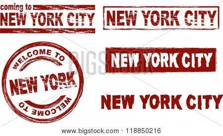 Ink stamp set city New York