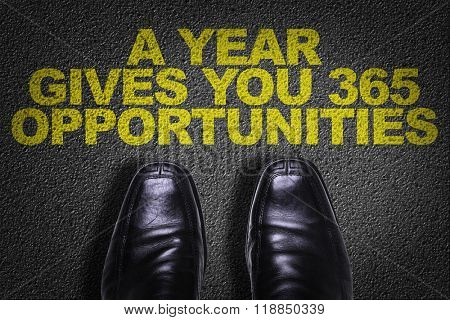 Top View of Business Shoes on the floor with the text: A Year Gives You 365 Opportunities