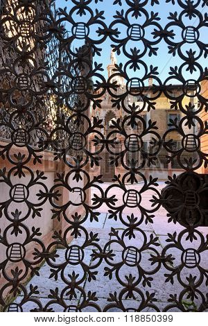 VERONA, ITALY - SEPTEMBER 11, 2014: Detail of wrought iron fence of the Scaliger Tombs (Arche Scaligere) in Verona  (UNESCO world heritage site), Veneto, Italy