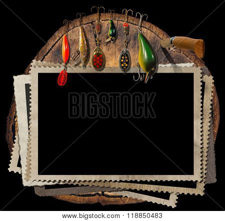Fishing Tackle And Empty Photo Frames