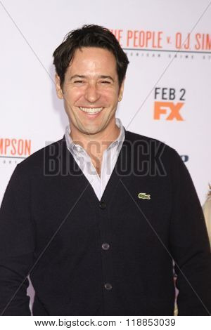LOS ANGELES - JAN 27:  Rob Morrow at the American Crime Story - The People V. O.J. Simpson Premiere at the Village Theater on January 27, 2016 in Westwood, CA