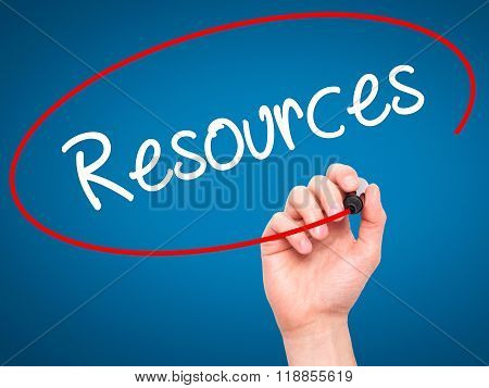 Man Hand Writing Resources With Black Marker On Visual Screen