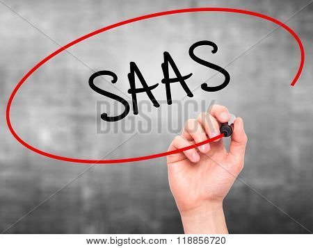 Man Hand Writing Saas With Black Marker On Visual Screen
