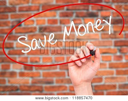 Man Hand Writing Save Money With Black Marker On Visual Screen