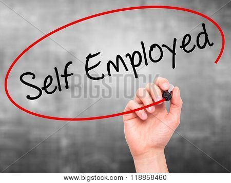 Man Hand Writing Self Employed With Black Marker On Visual Screen