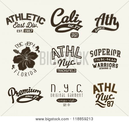 college athletic varsity badge label