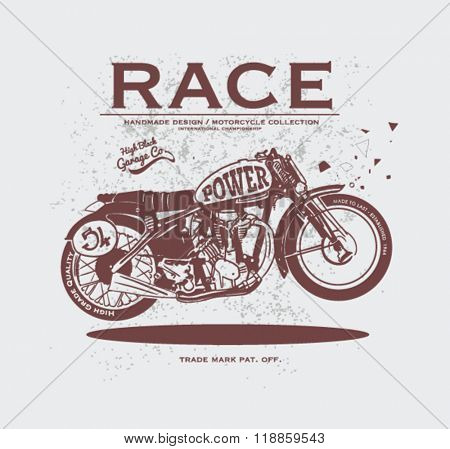 vintage race motorcycle for apparel 4