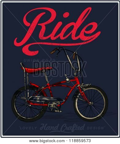 bicycle illustration for apparel