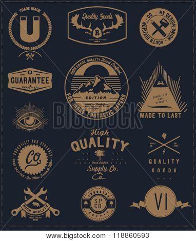vintage element badge label set 6