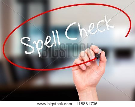 Man Hand Writing Spell Check  With Black Marker On Visual Screen