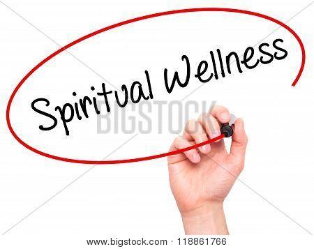 Man Hand Writing Spiritual Wellness With Black Marker On Visual Screen