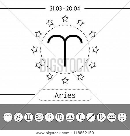 Aries, zodiac sign icon for horoscopes, predictions