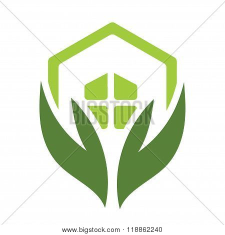 Eco house logo with green home and leaves