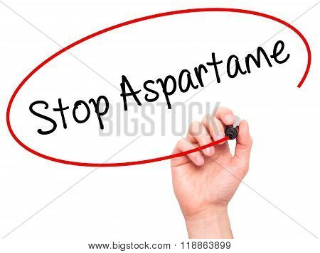 Man Hand Writing Stop Aspartame With Black Marker On Visual Screen