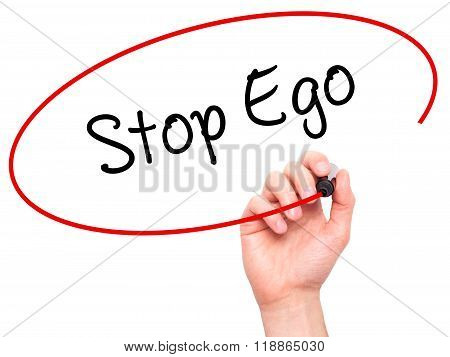 Man Hand Writing  Stop Ego With Black Marker On Visual Screen