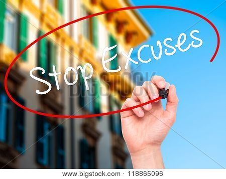 Man Hand Writing  Stop Excuses  With Black Marker On Visual Screen
